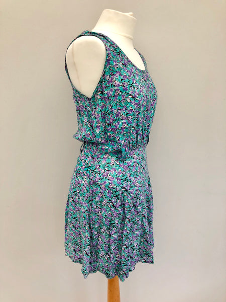 Vintage 90s Green Ditsy Floral Short Dress SMALL