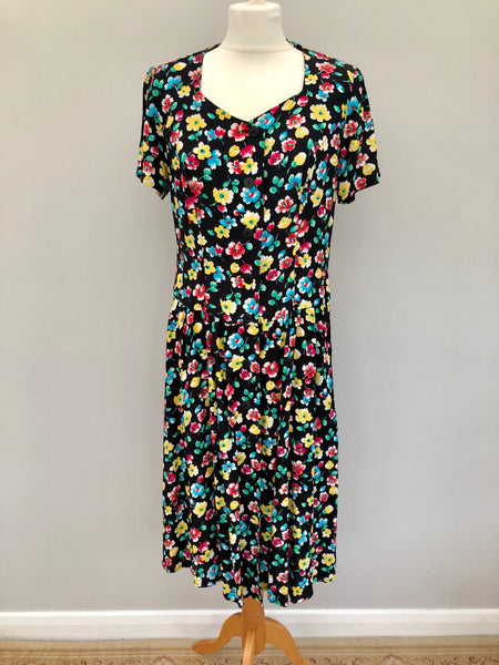 Vintage 90s Black Multi Floral Button Down Dress LARGE