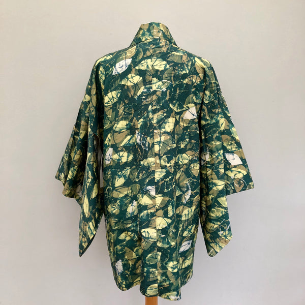Vintage Green Leaf Print Japanese Haori Jacket 12/14