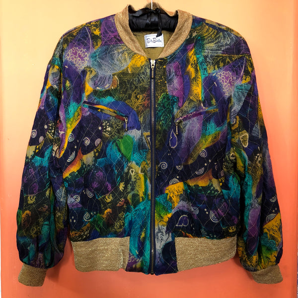 Vintage 80s Betty Barclay Gold & Abstract Print Bomber Jacket 14