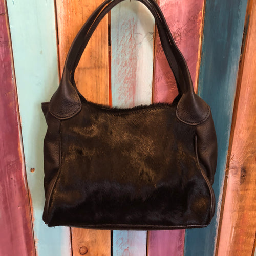 Black Cowhide & Leather Handbag
