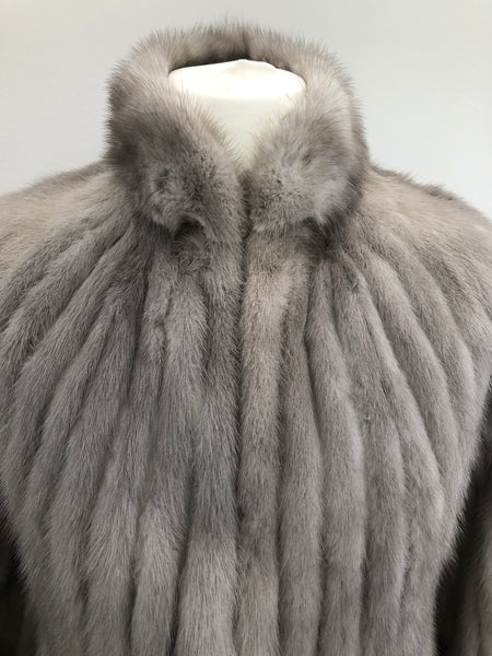 Vintage Silver Mink Fur & Leather Jacket  Size 10