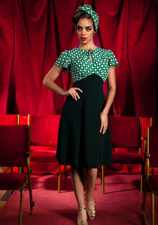 40s Grable Tea Dress - Emerald Deco Dot