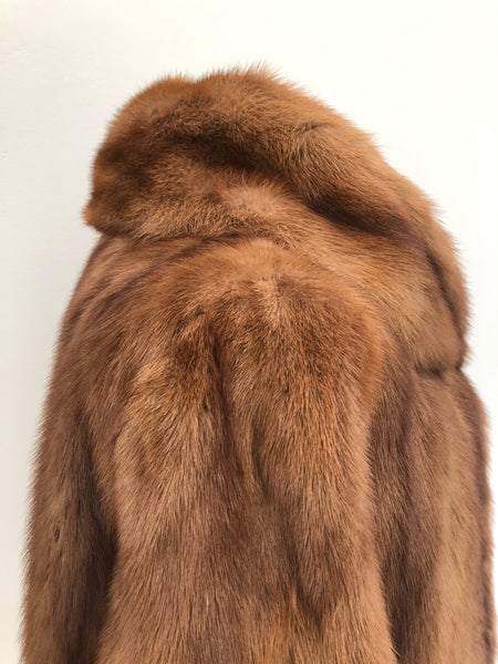 Vintage 1950s Short Brown Mink Fur Jacket 3/4 Length Sleeves  Size 12