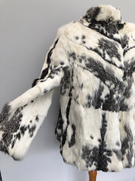 Vintage Monochrome Black & White Rabbit Fur Jacket 12/14