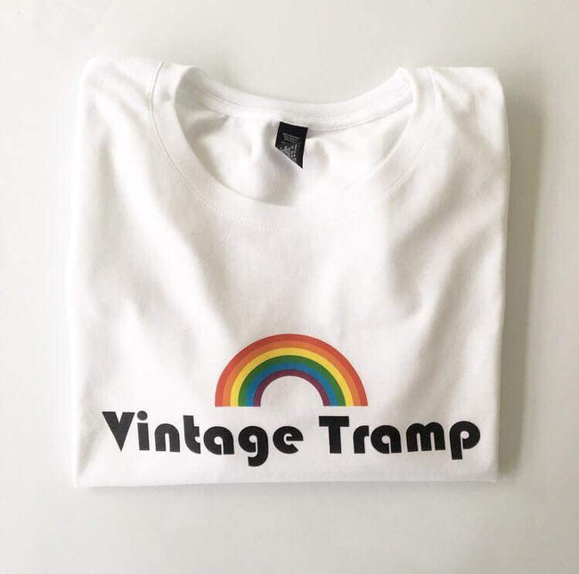 Retro Rainbow Vintage Tramp Printed White Cotton T-shirt  S-XL