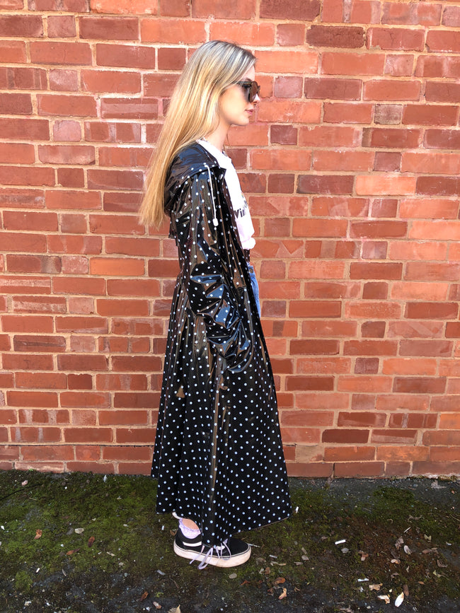 Black & White Ruby Polka Dot Flared PVC Raincoat