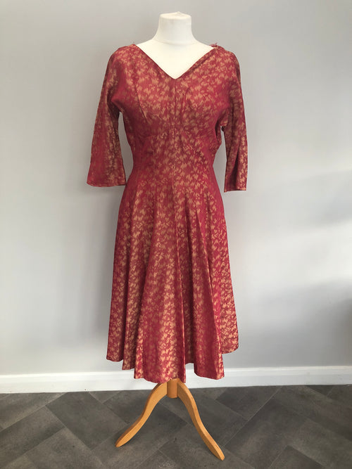 Genuine 1950s Collectable BLANES OF LONDON Coral & Gold Swing Dress