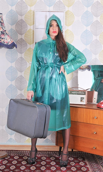 Green Semi Transparent PVC Drawstring FESTIVAL Rain Mac