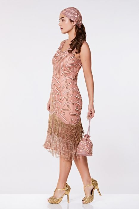 Gatsby Hollywood Rose Fringed 1920's Dress