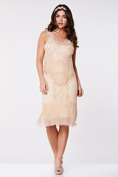 Gatsby Lady JAZZ FRINGE FLAPPER DRESS IN NUDE BLUSH