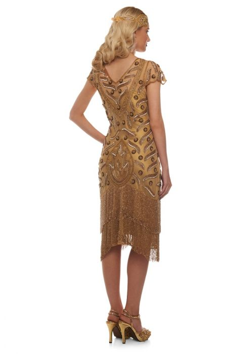 Gatsby Lady Vegas Fringe Gold Flapper Dress