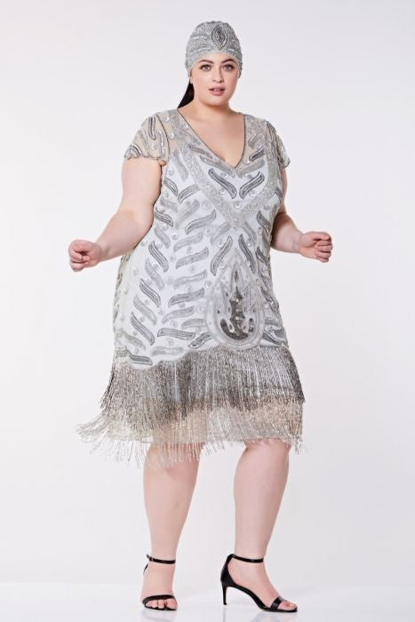 Gatsby Lady Vegas Fringe Grey Silver Flapper Dress