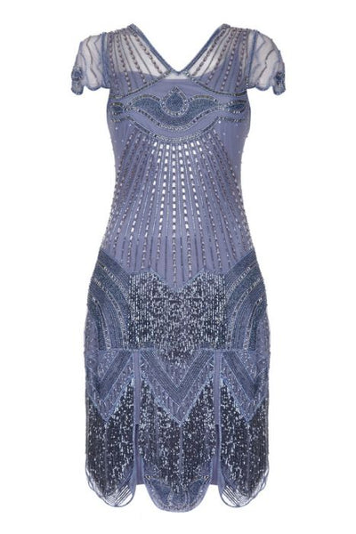 Gatsby Lady Lilac Beatrice Beaded 1920s Flapper Dress