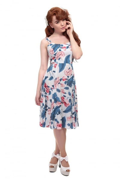 COLLECTIF MAINLINE JANIE KALEA HIBISCUS DOLL DRESS REDUCED