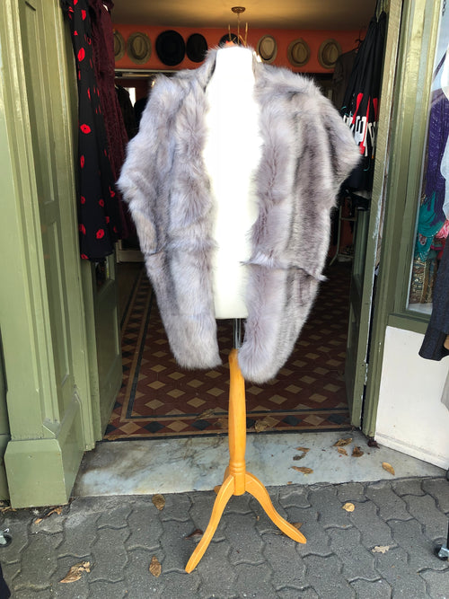 Luxury Woman's Faux Fur Oversized Grey Wrap