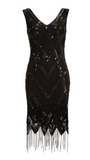 GLITZ 1920's GATSBY VINTAGE INSPIRED FRINGE DRESS IN BLACK