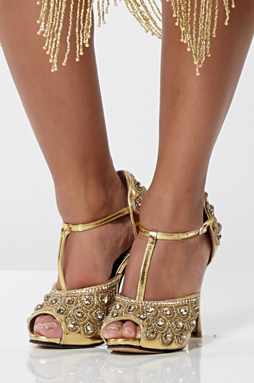 VINTAGE GATSBY 1920's INSPIRED T-STRAP HEELS IN GOLD