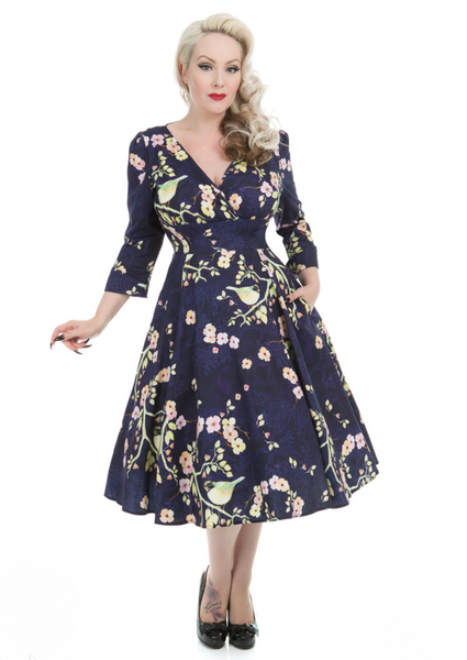 Vintage 1950s Style Hearts & Roses Nightingale Bird Dress