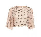 BLOSSOM VINTAGE INSPIRED EMBELLISHED FLARE SLEEVE TOP IN BLUSH