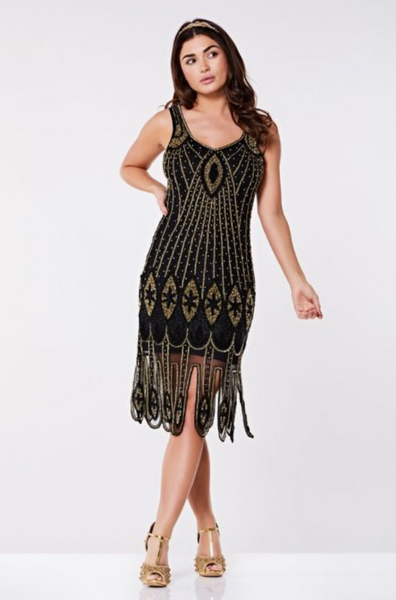 MOLLY FLAPPER DRESS IN BLACK GOLD
