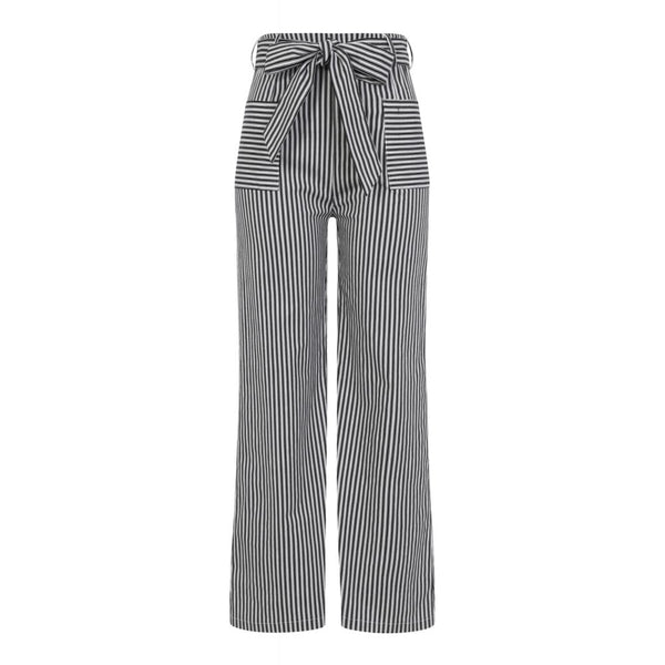 1940s Style Bella Black & White Striped Trousers