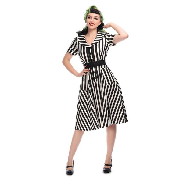 COLLECTIF VINTAGE BRETTE STRIPED SWING DRESS