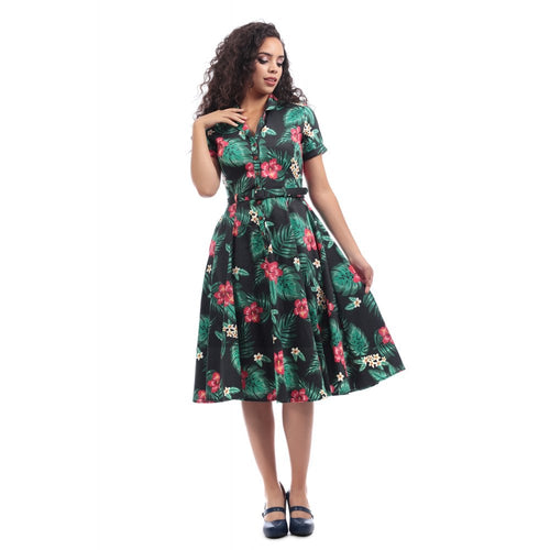 COLLECTIF MAINLINE CATARINA TROPICAL PARADISE SWING DRESS
