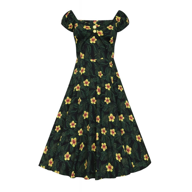 COLLECTIF MAINLINE DOLORES TROPICAL HIBISCUS DOLL DRESS