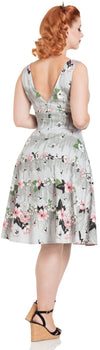 Grey & Pink Floral 50s Style Dress