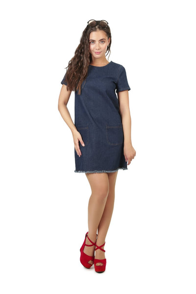 COLLECTIF BRIGHT & BEAUTIFUL ELLA DENIM SHIFT DRESS