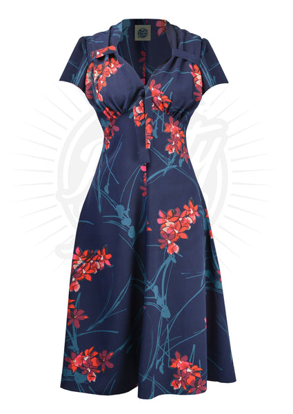 PRETTY RETRO Blue 40s Tea Dress in Tiki