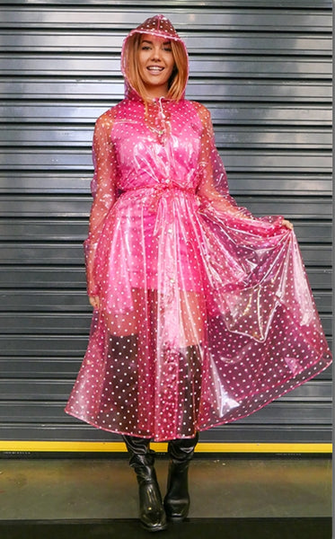 Pink & White Ruby Polka Dot Flared PVC Raincoat