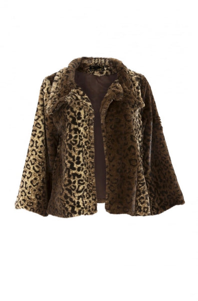 Faux Fur Leopard Swing Jacket