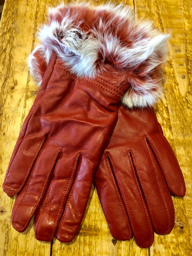 Luxury Red Leather and Fur Gloves