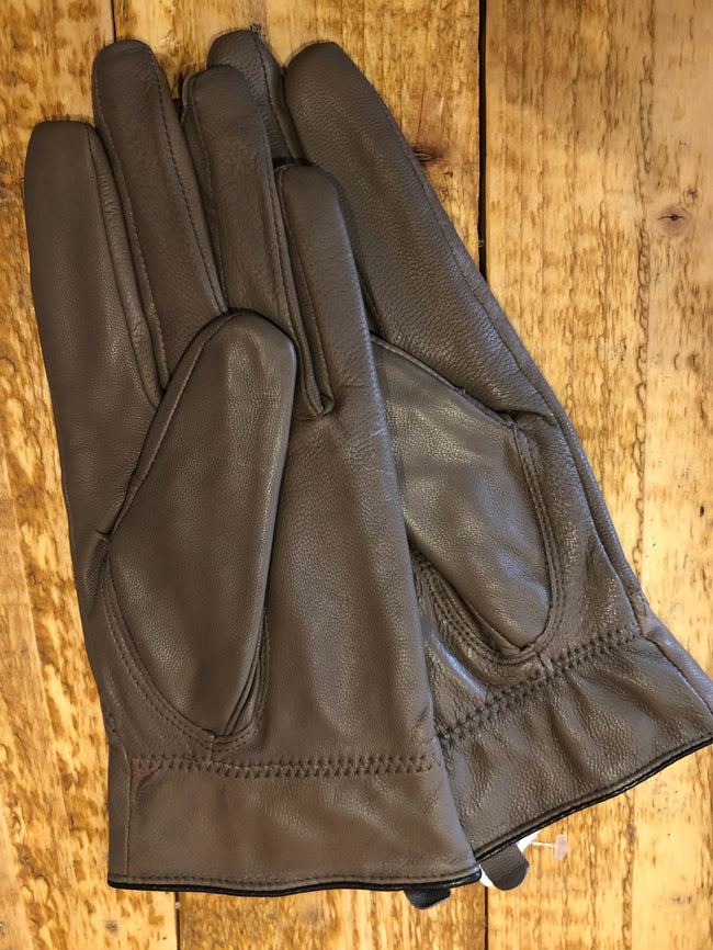 Luxury Light Mocha Leather and Fur Gloves