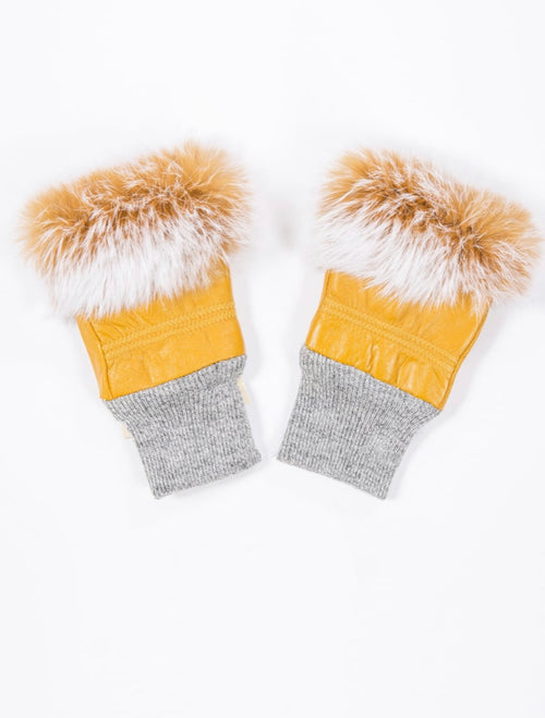 Yellow Fingerless Gloves With Fur Trim