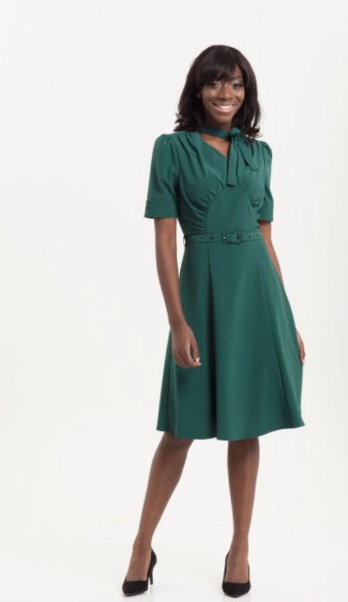 Audrey Green Fit & Flare 40's Style Tea Dress