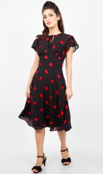 Valerie Embroidered Kiss 40's Style Tea Dress