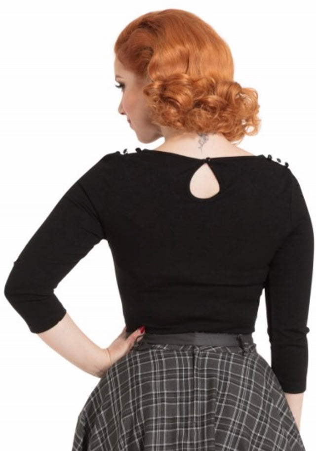 50's Style Black Celine Long Sleeve Top