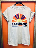70s Retro Rainbow Printed Lazy Dayz T-Shirt UNISEX