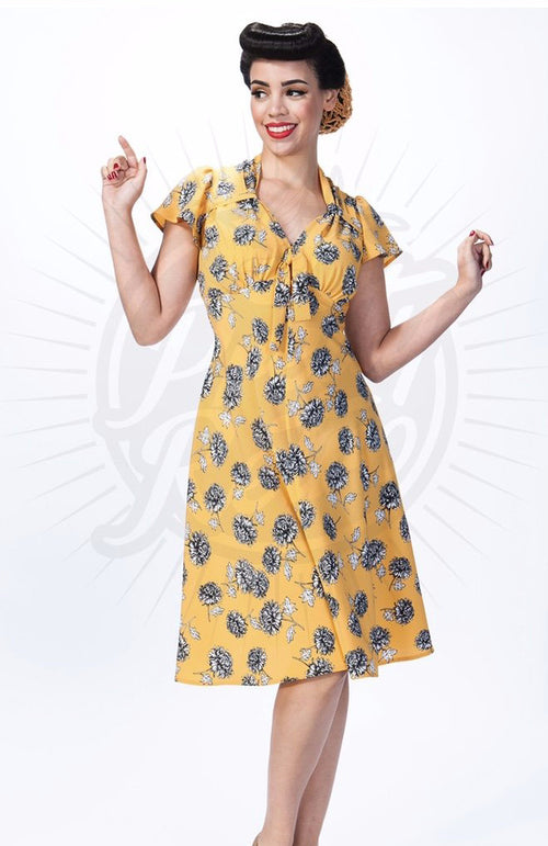 PRETTY RETRO Pretty Tea Dress in Gold Floral