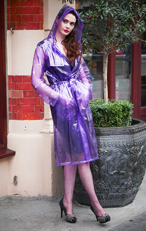Purple Glass Clear PVC Drawstring FESTIVAL Rain Mac