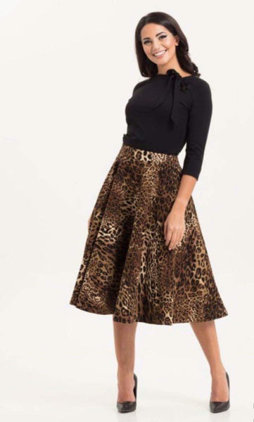 Sarah Heavyweight Leopard Print Circle Skirt