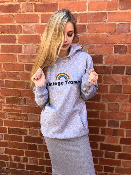 Grey Retro Vintage Tramp Rainbow Printed Hoodie