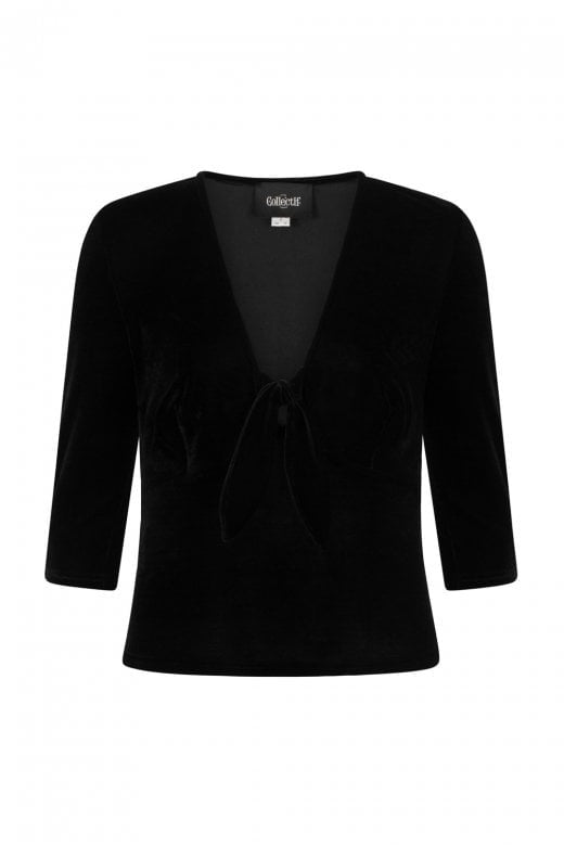 Collectif Black Moira Velvet Top