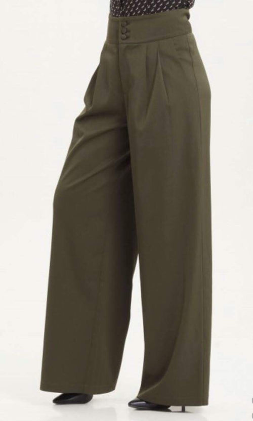 Vintage 40's Style Ola Olive Green Flared Trousers