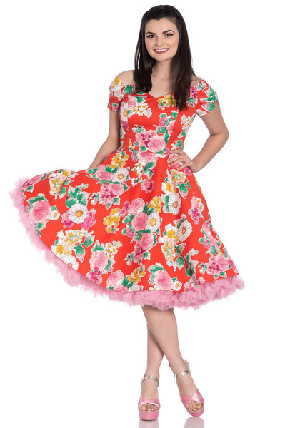 Hell Bunny Red Floral MARGUERITA 50'S DRESS