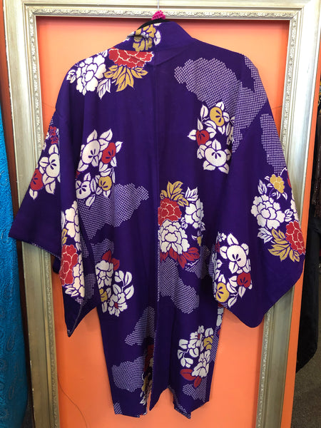 Long Purple Silk Floral Vintage Japanese Haori Jacket - Reversible
