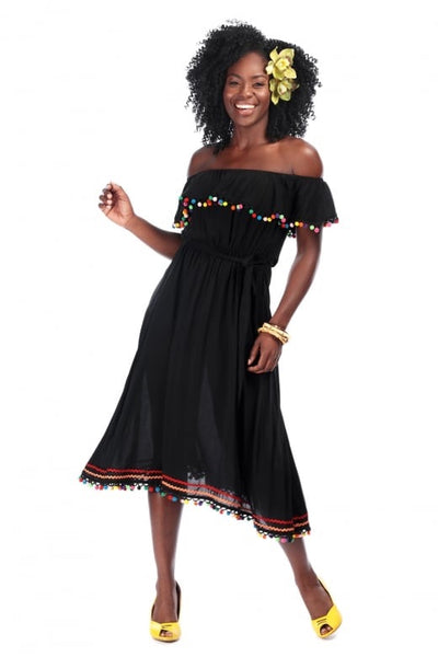 Collectif 50s Style Black Ronda Pom Pom Dress